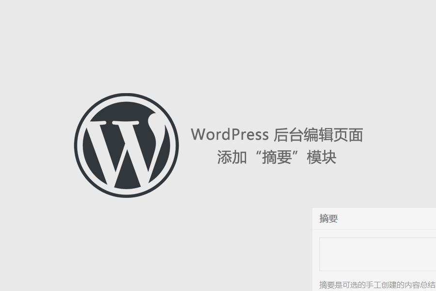 "WordPress 后台编辑页面添加""摘要""模块"